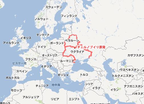 チェルノブイリ原発の位置