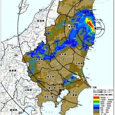 写真(福島原発事故による汚染の広がり) 出典:文部科学省