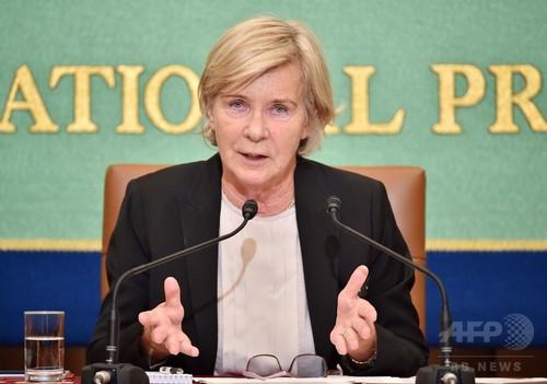 写真(国連の「子どもの売買、児童売春、児童ポルノ」に関する特別報告者、マオド・ド・ブーアブキッキオ氏) 出典:AFP