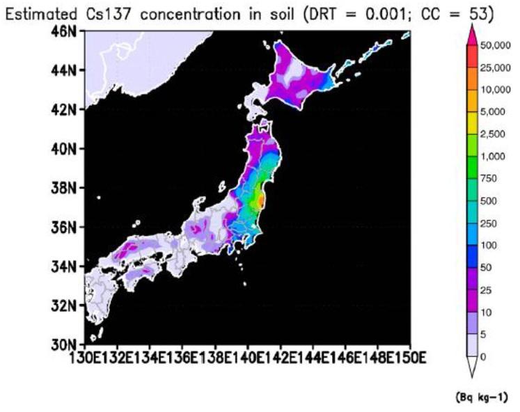 """写真(放射性セシウムによる土壌汚染) 出典:IPPNW-Report """"Health consequences resulting from Fukushima Update 2015"""""""