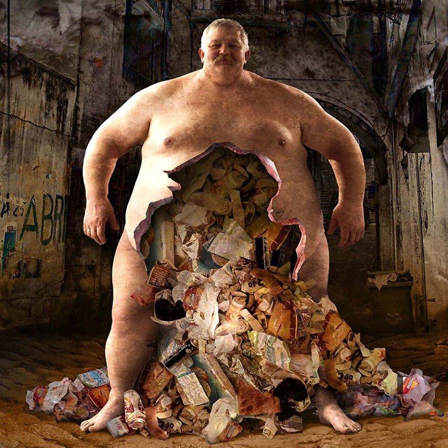 ジャンクフードまみれの肥満男