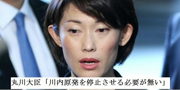 鹿児島県の川内原発を停止させる必要が無いと発言する丸川原子力防災担当大臣