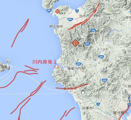 図(川内原発周辺の活断層マップ) 出典:探求三昧