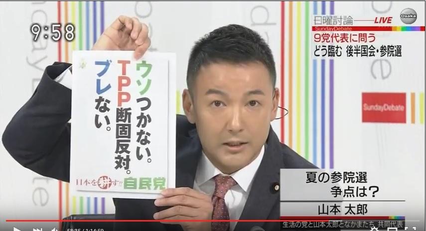 写真(NHK日曜討論で発言する山本太郎議員)