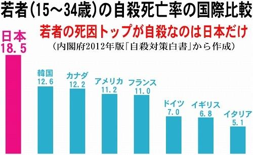 図(若者の自殺死亡率の国際比較)