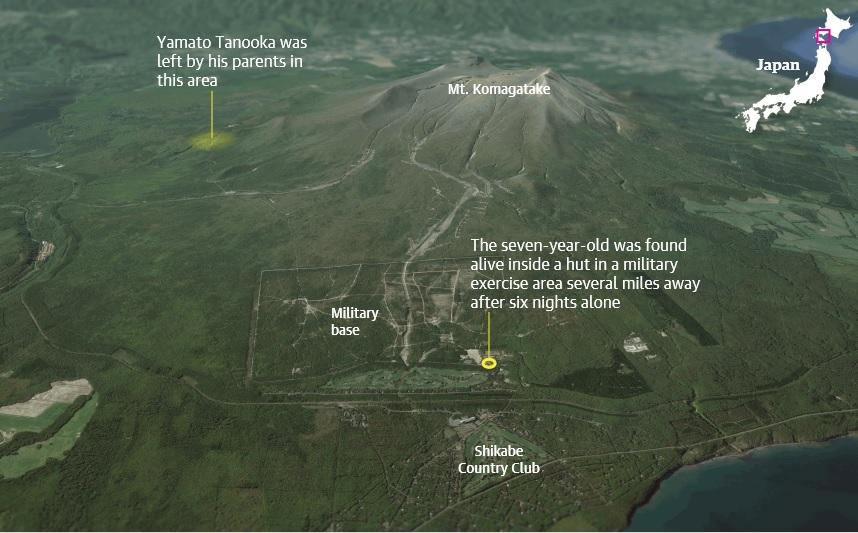 写真(男児の発見場所とその周辺) 出典:Guardian graphic | Image via Google Earth
