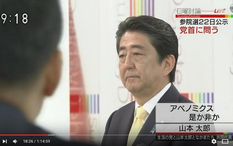 写真(山本太郎議員に批判され、睨み返す元気もない安倍総理)