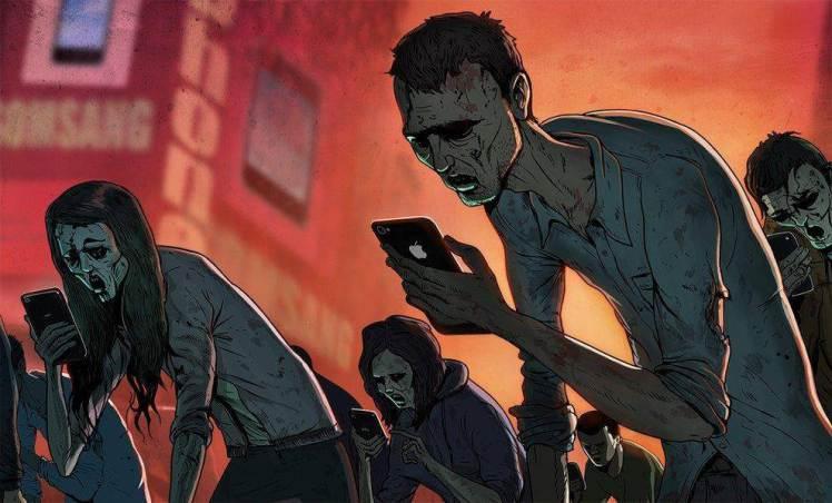 絵(スマートフォンの奴隷と化した人たち)