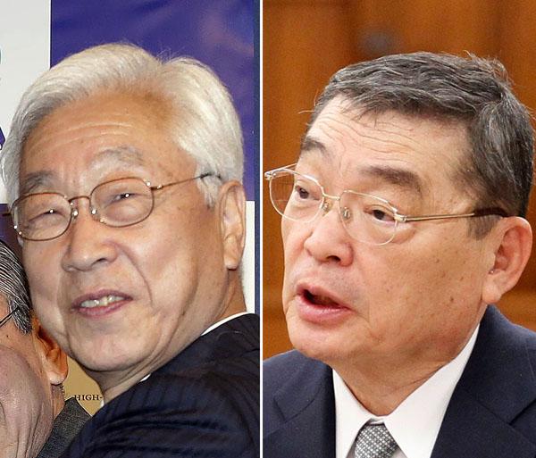 写真:NHK経営委員長に就任した石原氏(右は籾井会長) 出典:日刊ゲンダイ